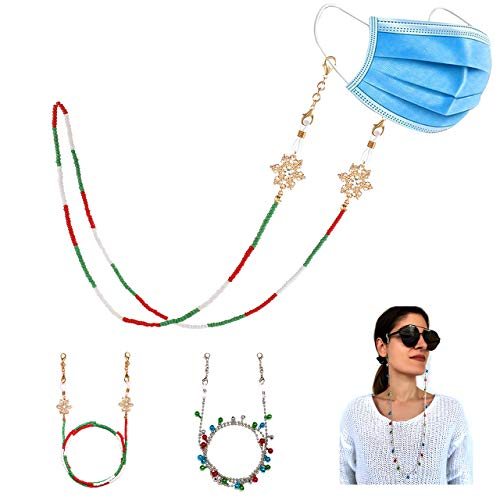 Christmas Mask Chain Necklace for Women Jingle Bells Face Cover Lanyard Eyeglass Holder Strap