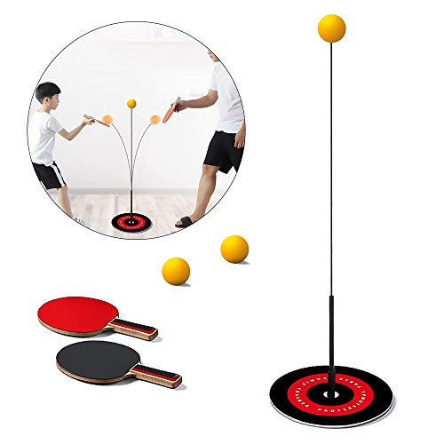 Great Features Of HOBOYER Table Tennis Trainer Elastic Shaft, Ping Pong Balls Paddles Set Trainer Pr...