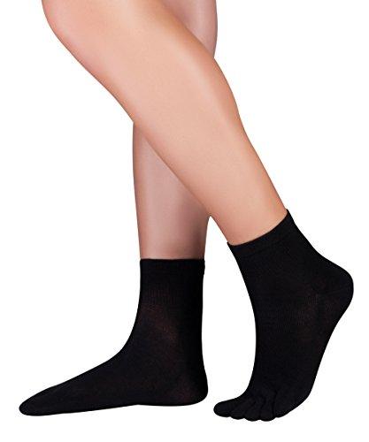 Knitido Dr. Foot® Silver Protect, antimikrobielle kurze Zehensocken mit Silberfaden, Größe:39-42, Farbe:schwarz (001)