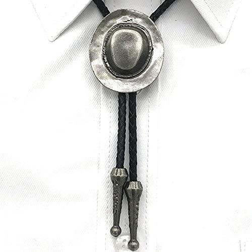 Wuyuana Bolo Cowboy Occidental Retro Chapado de Metal artesanía Sombrero Hombres y Mujeres bolo Corbata Accesorios Casuales Collar de Cuero Cuerda Corbata