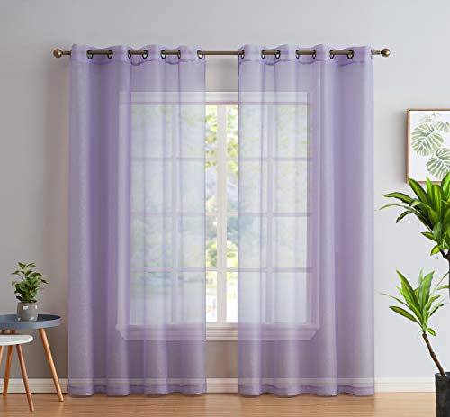 HLC.ME 2 Piece Semi Sheer Voile Light Filtering Window Curtain Grommet Panels for Bedroom, Living Room & Dining Room - Light Purple (Lilac) - 54 W x 84 inch Long