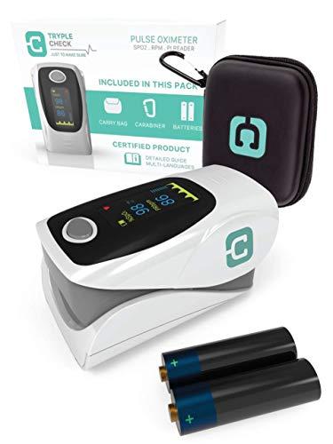 TrypleCheck Oximetro Dedo Portátil Certificado y Medidor de Oxigeno en Sangre, Pulsioximetro...