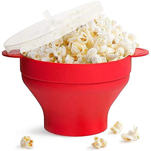 Self Idea - Ciotola per popcorn a microonde, contenitore per preparare popcorn in silicone per microonde, popcorn pronti in pochi minuti (20 cm)