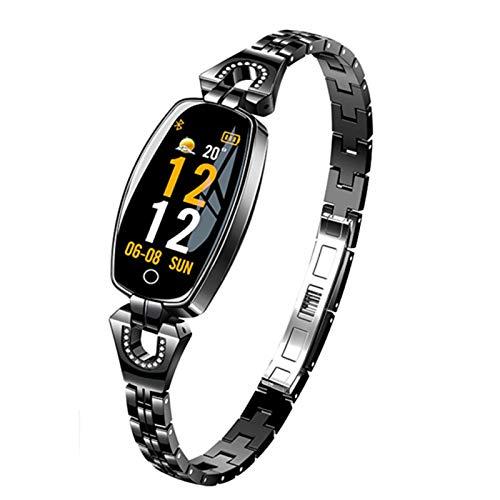 QY-Youth Reloj Inteligente para Mujer de 0.96'OLED, Monitor de presión Arterial, frecuencia cardíaca, podómetro, rastreador de Ejercicios a Prueba de Agua,Negro