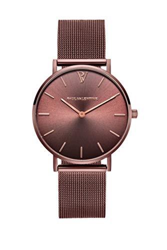 Paul Valentine - Damenuhr - Coffee Mesh - 32 mm Armbanduhr mit stilvollem Metallic-Ziffernblatt, kratzfestes Glas, schmales Mesh-Armband, Uhr für Damen