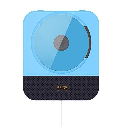 LHHH Lettore CD Portatile Bluetooth CD Player Portable Parete Audio Home Audio Boombox con Telecomando Repeater Figlio USB con Coperchio Antipolvere e Staffa (Color : Blue)