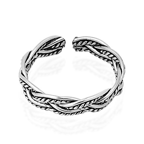 AeraVida Oxidized Celtic Weave Design Sterling Silver Toe Ring or Pinky Ring