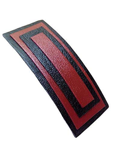 Red black leather hair clip a Direct stock discount style Mail order cheap minimalist in handmade