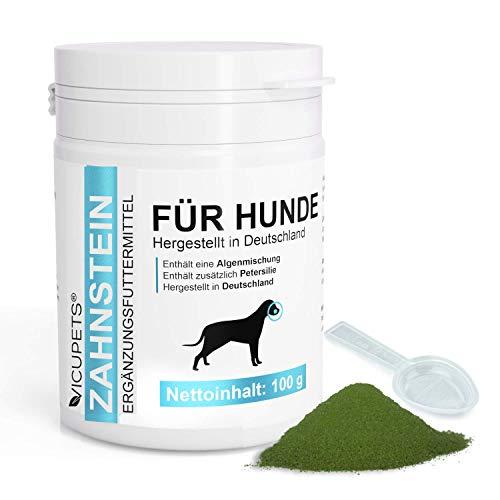 Vicupets Zahnstein I 100g Pulver Hunde Zahnpflege I Zahnreinigung für Hunde I gegen Mundgeruch bei Hunden