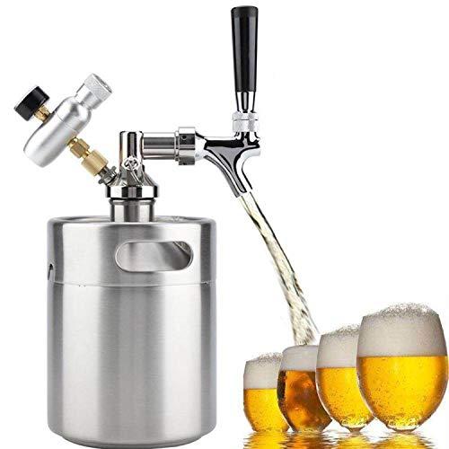 RSTJ-Sjef Kit Dispensador De Cerveza Presurizada para Cerveza Artesanal De Barril Homebrew, Growler De Cerveza Portátil con Regulador De Presión De CO2, Mantiene La Carbonatación Fresca