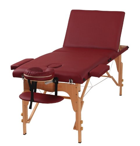 Heaven Massage The Best Massage Table 3 Fold Burgundy Reiki Portable Massage Table - PU Leather