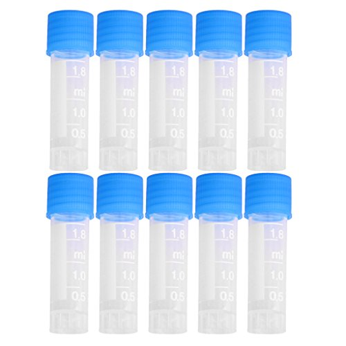 10pcs 1.8ml Graduated Cryovial Test Tube Sample w/ Screw Cap
