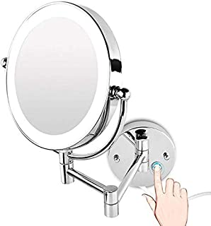 LED Makeup Vanity Mirror, Two-Sided Wall Mounted Bathroom Mirror Multiple Magnification Beauty Mirror 360° Swivel Extendable Cosmetic Mirror,3X, Bathroom