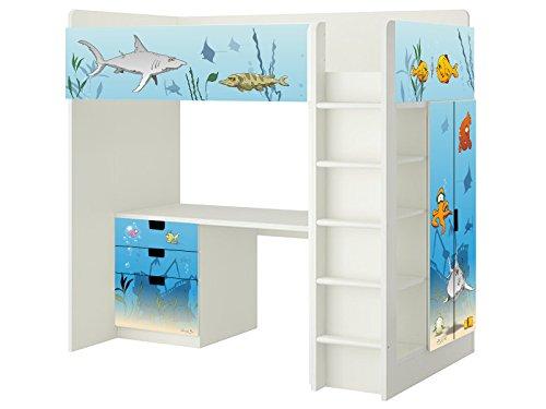 Unterwasserwelt Aufkleber - SH07 - passend für die Kinderzimmer Hochbett-Kombination STUVA von IKEA - Bestehend aus Hochbett, Kommode (3 Fächer), Kleiderschrank und Schreibtisch - Möbel Nicht Inklusive | STIKKIPIX