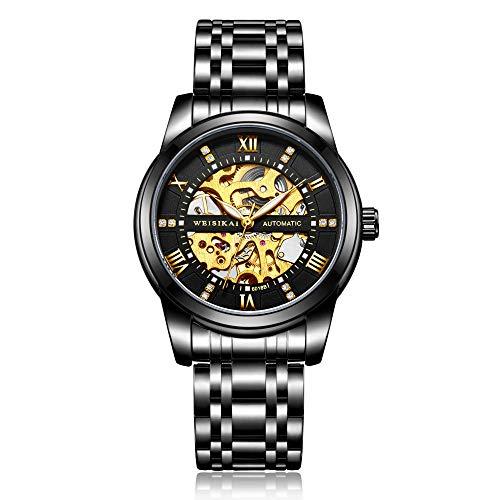 Relojes para Hombre Reloj de Pulsera mecánico de Acero Inoxidable para Hombre con Correa de Acero Inoxidable Esqueleto analógico -A