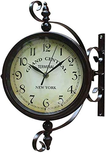 AWCVB Double-Sided Wall Clock Vintage Wall Mounted Two Faces Retro Hanging Clock With Scroll Wall Side Mount Home Garden Décor,Coffee,45X35X15Cm