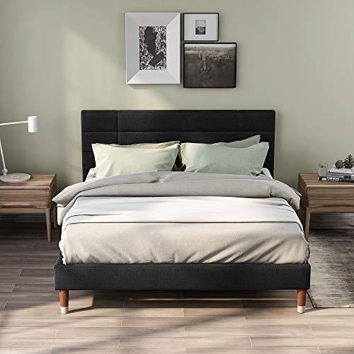 ModernLuxe Polsterbett Samt-Stoff Doppelbett 140x200cm Bettgestell in dunkelgrün Samt für Erwachsene&Jugendliche(Matratze Nicht enthalten) (Schwarz)