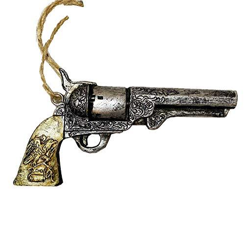 AR Country Store Old West Rustic Western Pistol Guns Six Shooter Revolver Christmas Holidays Car Gift Tags Figurine Ornament - American Eagle Details Ivory Handle