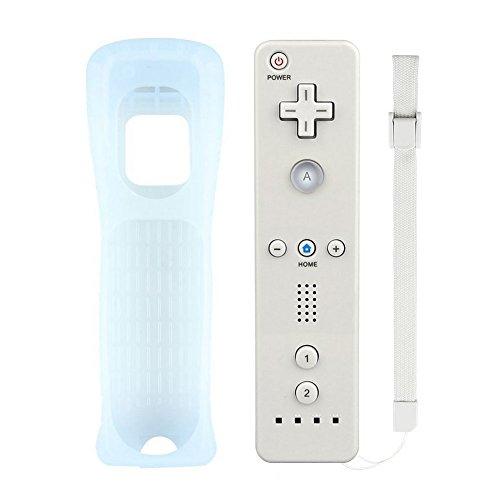 Atopoo Wii Remote Controller, Remote contrôleur de Jeu de Remplacement avec Coque en Silicone et dragonne pour Nintendo Wii et Wii U (Blanc)