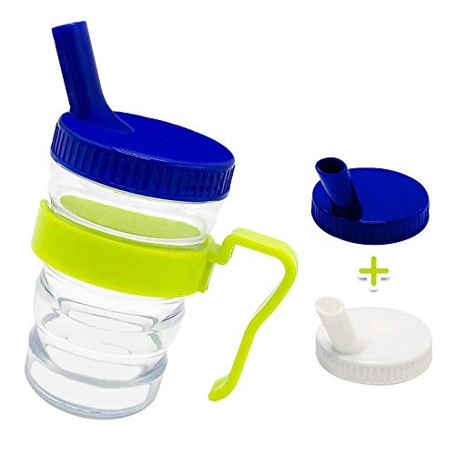 Kirimon Flow Control Spill Proof Cup with Two Style Lids - Spill-Resistant, Leak-Proof,Break-Proof Feeding Cup for Elderly,Disabled and Adults
