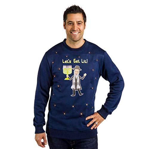 The Ugly Holidays Men's Hanukkah Sweater with Lights, Let's Get Lit Light Up Funny Ugly Hanukkah Sweater Navy Blue Size Large