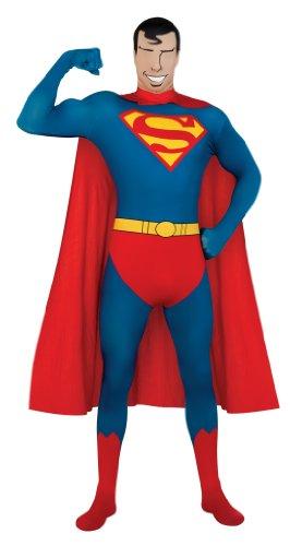 Superhero 2nd Skin Full Body Suit Adult Costume Superman - Red and Blue - Medium