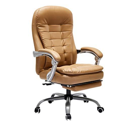 HAOSHUAI Sedia da Ufficio Sedia da Ufficio, Sedia in Pelle reclinabile con poggiapiedi, in Marrone