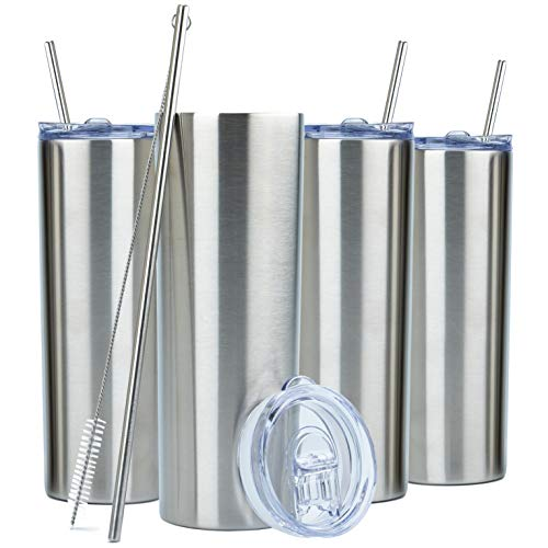 SKINNY TUMBLERS (4 pack) 20oz Stainless Steel Double Wall Insulated Tumblers with Lids and Straws  ...