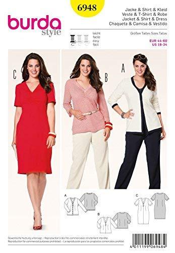 burda Schnittmuster Cardigan, Shirt, Kleid 6948, 19 x 13 cm 44-60 EU