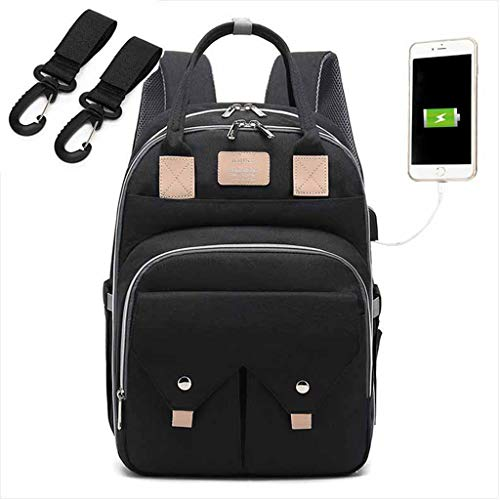 PINGDI Mummy Mom appy Diaper Bag Large Capacity USB Maternity Baby Travel Backpack with Stroller Kit