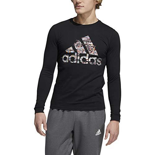 adidas Badge of Sport Glitch Long Sleeve Tee (Black/Multi, XX-Large)