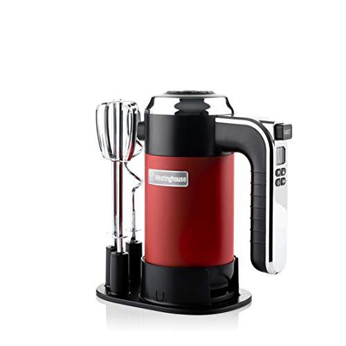 Westinghouse Handmixer Retro - Handrührgerät mit 6 Stufen + Turbo-Funktion, ideal als Küchenquirl & zum Kneten (2er Set), Rührgerät mit Timer, Farbe: Rot