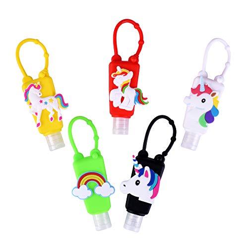 Ulife Mall 5 Piezas Botellas de Viaje Portátiles para niños, 30ml Contenedor Desinfectante de Manos a Prueba de Fugas Rellenable Botellas Vacía para Jabón Líquido Champús Lociones - Unicornio B#