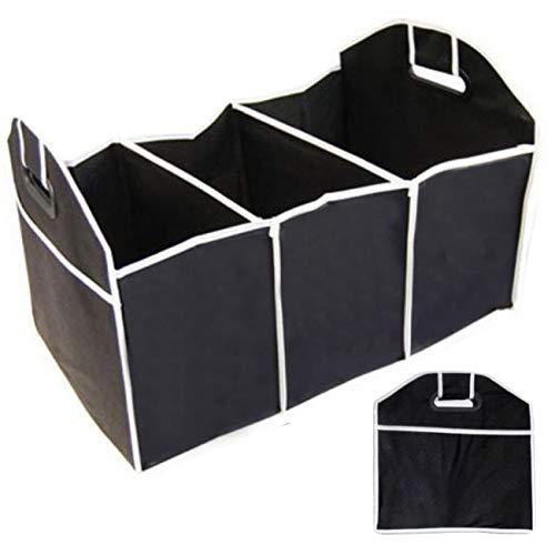 O&W Security Kofferraum-Organizer Faltbare Kofferraumtasche Autotasche Faltkorb schwarz mit verstärkten Griffen ABS 55 cm x 35 cm x 30 cm