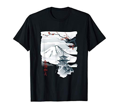 Bonito árbol de cerezo japonés en flor, grabado en madera Camiseta