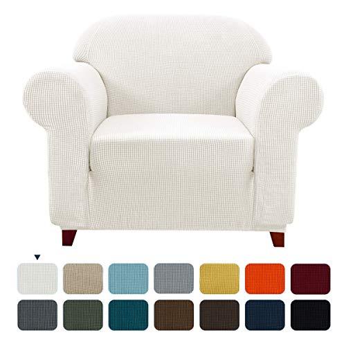 subrtex Spandex Sofabezug Stretch Couchbezug Sesselbezug Elastischer Antirutsch Sofahusse (1 Sitzer, Creme)