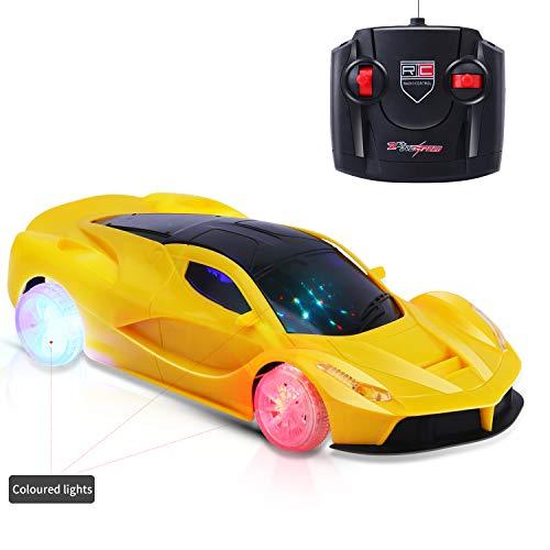 Micovay Ferngesteuertes Auto Kleinkind, 1/18 RC leuchten Hobby-Spielzeugauto mit 5 blinkenden LED-Lichtern und Controller-Fahrzeug für Jungen, Mädchen 3,4,5,6 Jahre,, Gelb