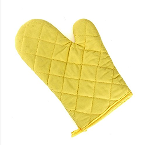 Dbtxwd Cuisine de couleur unie Polyester-coton haute température du four à micro-ondes gants isolant anti-dérapants épaississement cuisson (pack de 2) , yellow