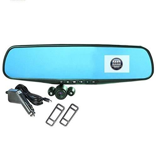 QiKun-Home HD Mirror CAM como se ve en la TV Car Dvr 350 HD Dashcam Recorder Grabador de conducción con ángulo de visión Giratorio de 360 Grados, Negro