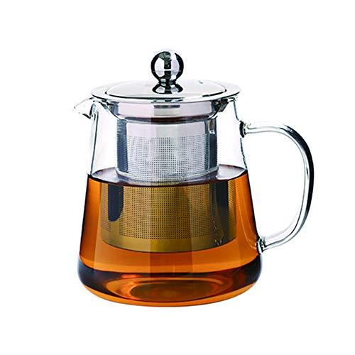 Tetera de cristal con infusor – Tetera de borosilicato transparente con filtro de acero inoxidable – Colador de té y café resistente al calor – Tetera de hojas para té suelto,transparente,550ml