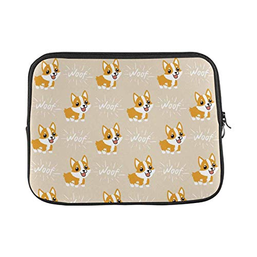 INTERESTPRINT Laptop Neoprene Protective Bag Cute Cartoon Welsh Corgi Dog Notebook Protective Sleeve Case Cover 11 Inch 11.6 Inch