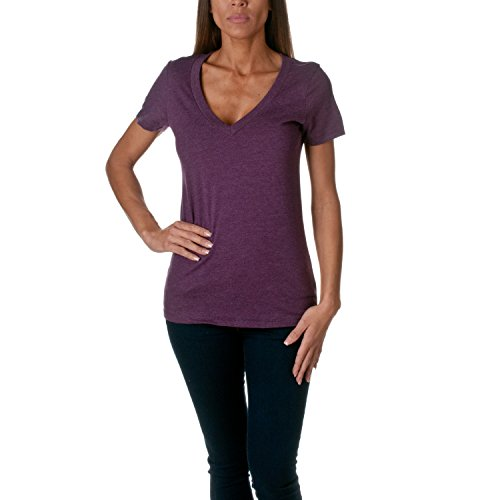 Next Level Womens CVC Deep V Tee (6640) Plum XL