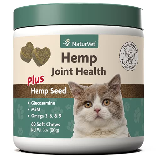NaturVet – Hemp Joint Health for Cats - Plus Hemp Seed – 60 Soft Chews – Supports Healthy Hips & Joints – Enhanced with Glucosamine, MSM & Hemp Seed– 30 Day Supply