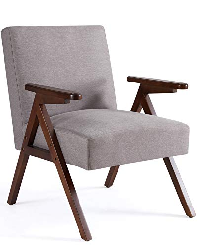 HUIMO Armchair & Accent Chair, Wooden Mid-Century Modern Lounge Chair, Fabric Arm Chair for Living Room, Bedroom, Elegant Upholstered Reading Chair, Room Chair, Side Chair (Gray)