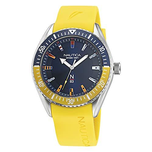 Nautica NAPFWF015 - Reloj casual de cuarzo para hombre, acero inoxidable, color amarillo, 22 (modelo: NAPFWF015)