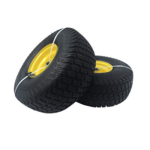 DOUBLE BRIDGE 2 Pack 15x6.00-6 Tires with Wheel for Lawn Mower Riding Mower. Multi-Trace Tread,3' Offset hub with Steel Rim 3/4'' bushings