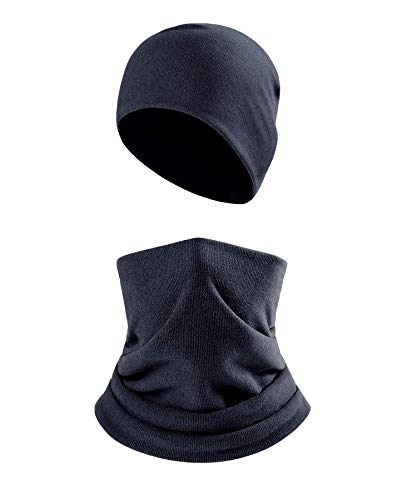 2Pcs Winter Beanie and Neck Gaiter Set for Men Women,Windproof Face Scarf Balaclava for Skiing/Hiking(Navy)