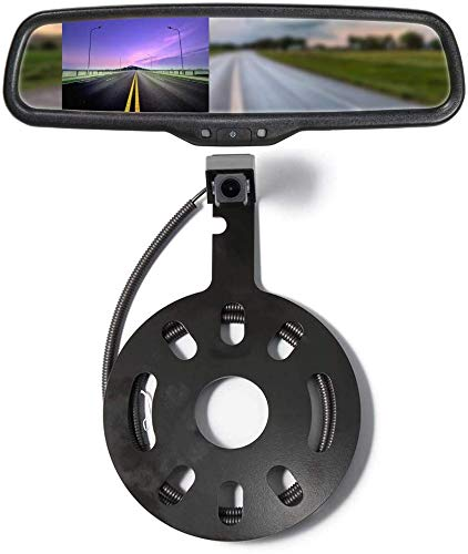 """EWAY Backup Rear View Spare Tire Mount Camera for Jeep Wrangler 2007-2018 with 4.3"""" Anti-Glare Mirror LCD Monitor Reverse Camera with Removable Guideline"""