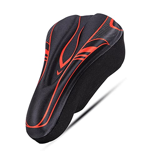 CHENGHAN 3D Bicycle Saddle Cover Men Women MTB Road Cycle selle velo route coprisella bici asiento bicicleta gel soft bike seat cover (Color : Red B)