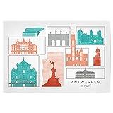 artboxONE Poster 90x60 cm Städte Antwerp Skyline Coral -